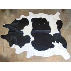 Black and white cow hide carpet