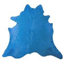 Cow hide rug blue